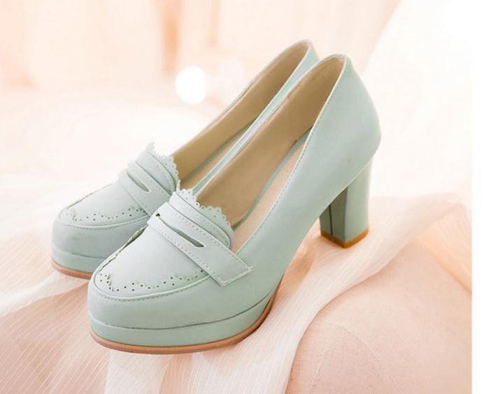 2019 Sapatos femininos na Primavera e Outono com novo estilo Salto alto Salto grosso redondo cabeça mesa impermeável @ 05