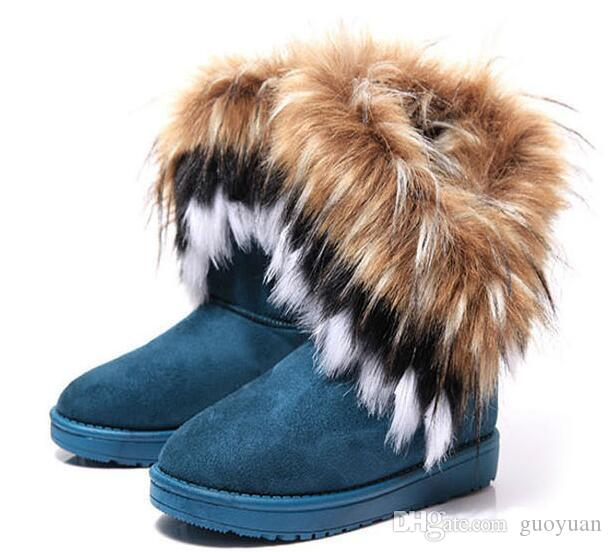 2Fashion Fox Fur Warm Autumn Winter Wedges Snow Women Boots Shoes GenuineI Mitation Lady Short Boots Casual Long Snow Shoes size 36-42