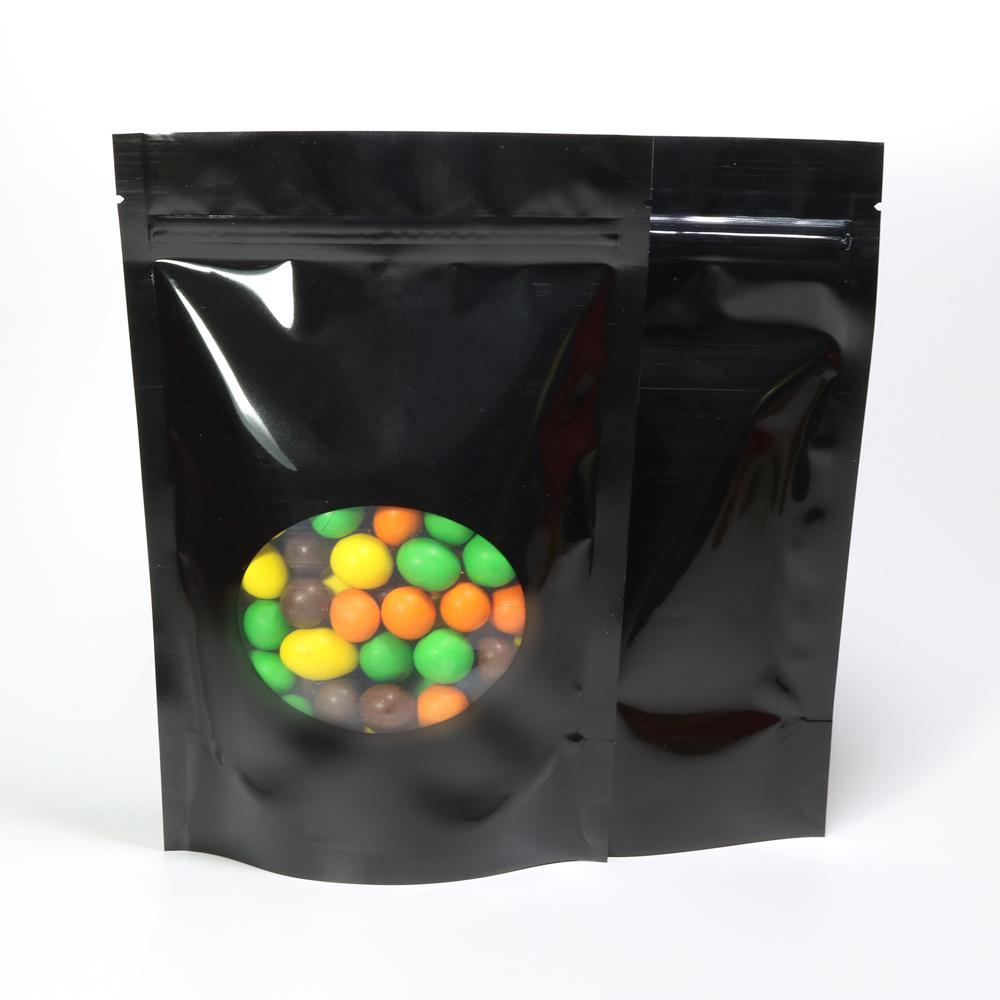 Verschiedene Größen 100pc Glossy Black Aluminiumfolie Mylar-Paket-Beutel mit ovalem Fenster, Stand Up Zip-Verschluss Food Storage Taschen