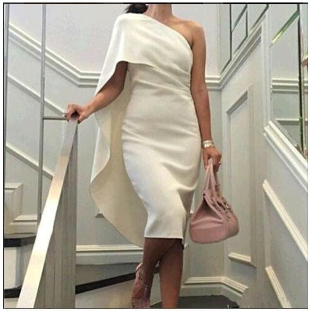 2019 New Evening Dresses Straight prom dresses Sleeveless One Shoulder Length Evening Gowns White Simple