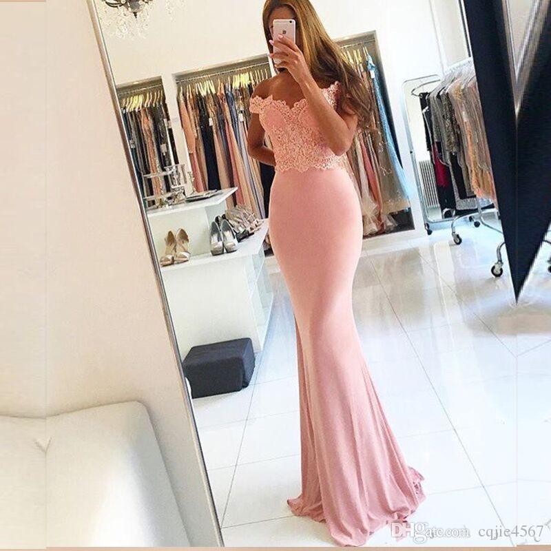 2019 New Vestido de festa Sexy Off The Shoulder Lace Pink Mermaid Prom Dresses abendkleider Modern Evening Dress For Party A71
