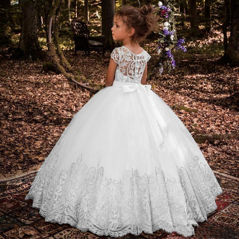 Flower Girl Princess Dress Lace Party Wedding Pageant Communion Dresses for Kid