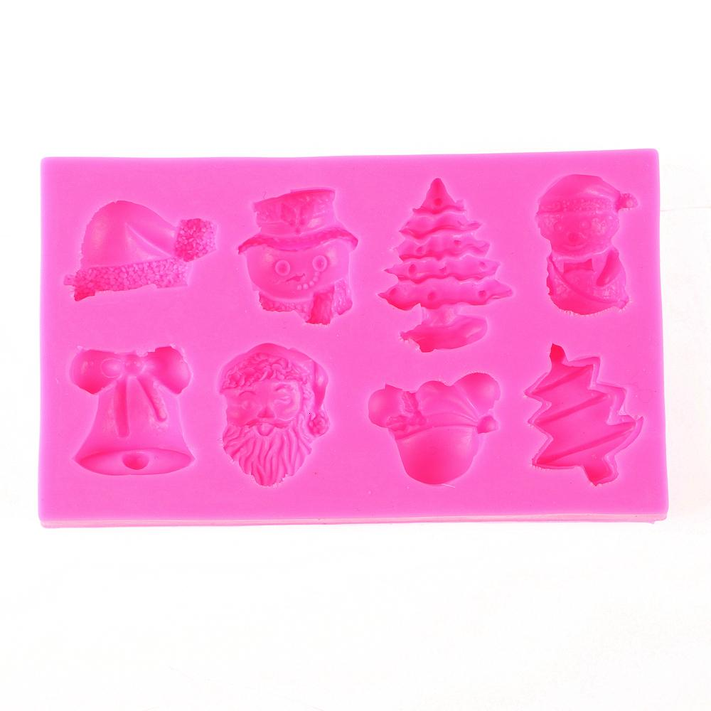 Christmas Tree Claus Hat Bell Silicone molds Mold Chocolate Fondant Moulds Diy Cake Tools