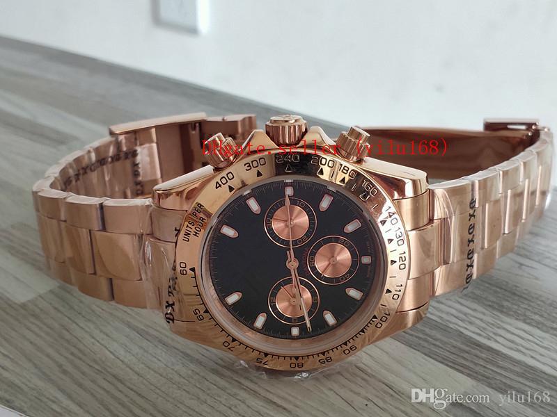 Высокое качество продажи роскошных мужчин складки часы 40 мм 116505 18k золотая роза Эвероза без хронологического механического автоматического мужских бизнес-часов