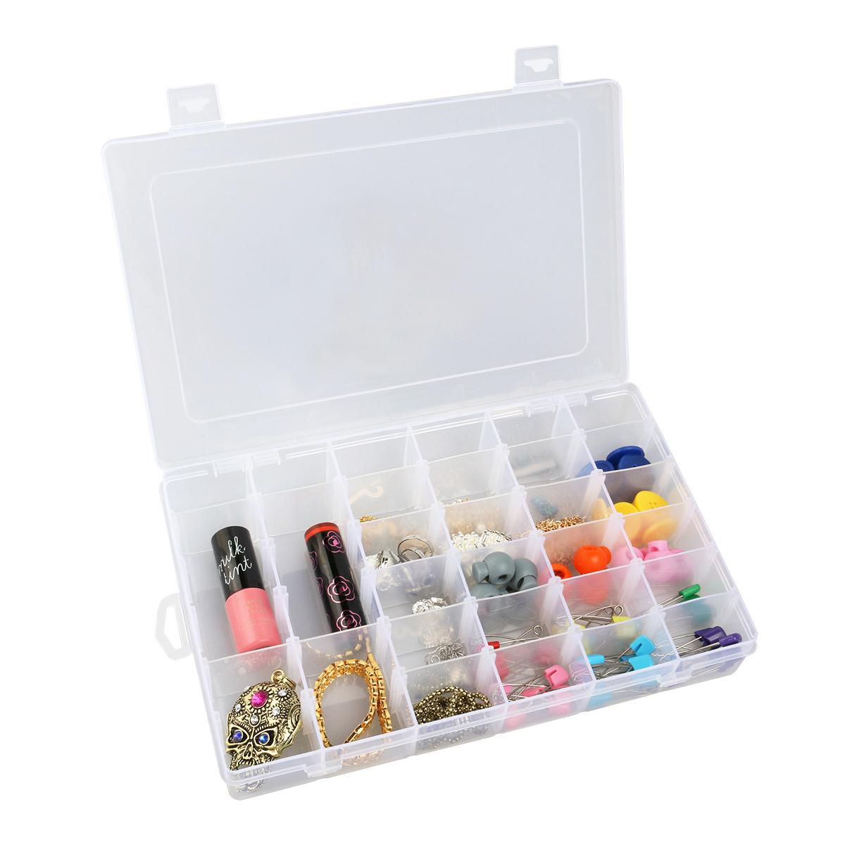 36-Grid Clear Hard Plastic Jewelry Organizer Box Adjustable Storage Container Case with Removable Dividers (Transparent)