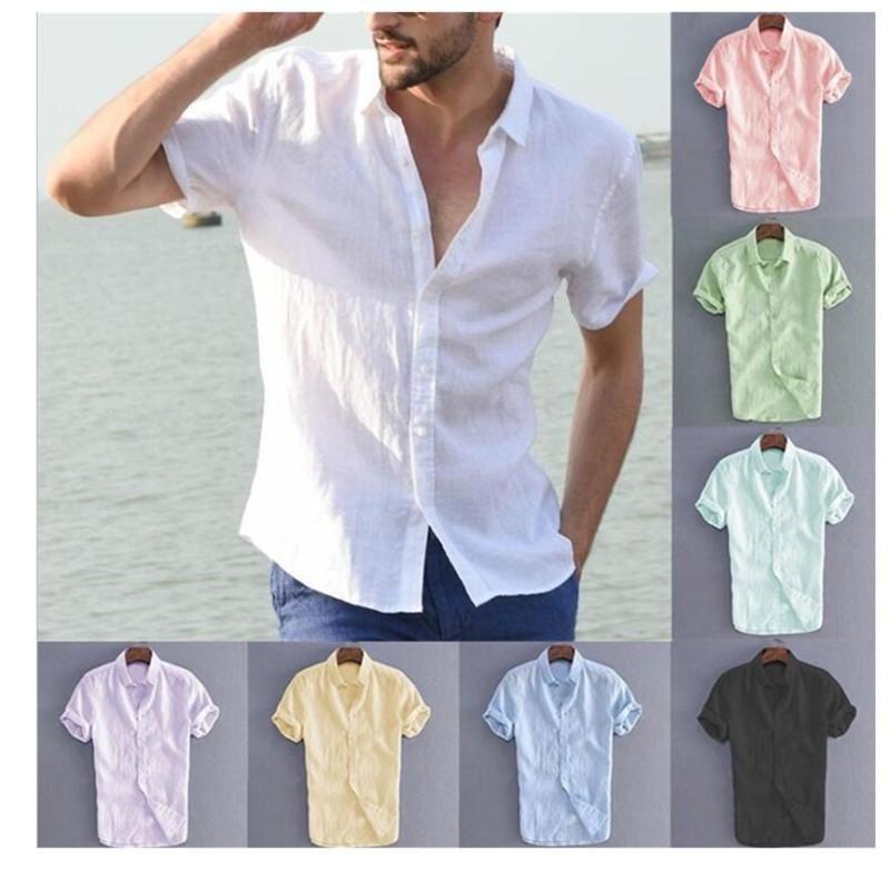 uomini europei e americani biancheria solido manica corta estate camicia casuale Multi - colore a scelta