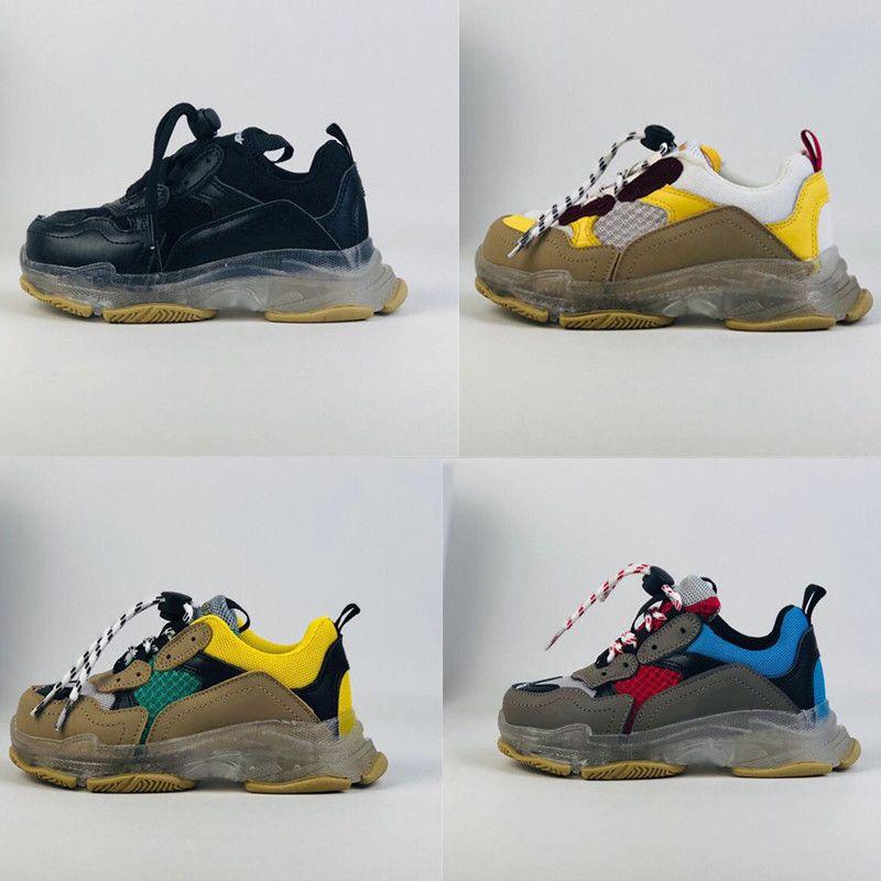 Младенческая Тройка S коренастый папа кроссовки Детская мода повседневная спортивная обувь для бега комбинация прозрачных подошв скорость плоские кроссовки