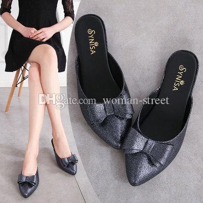 2019 новые туфли без каблука женские летние желейные туфли прохладные полутапочки модная одежда пляжная обувь галстук-бабочка женщина сандалии тапочки