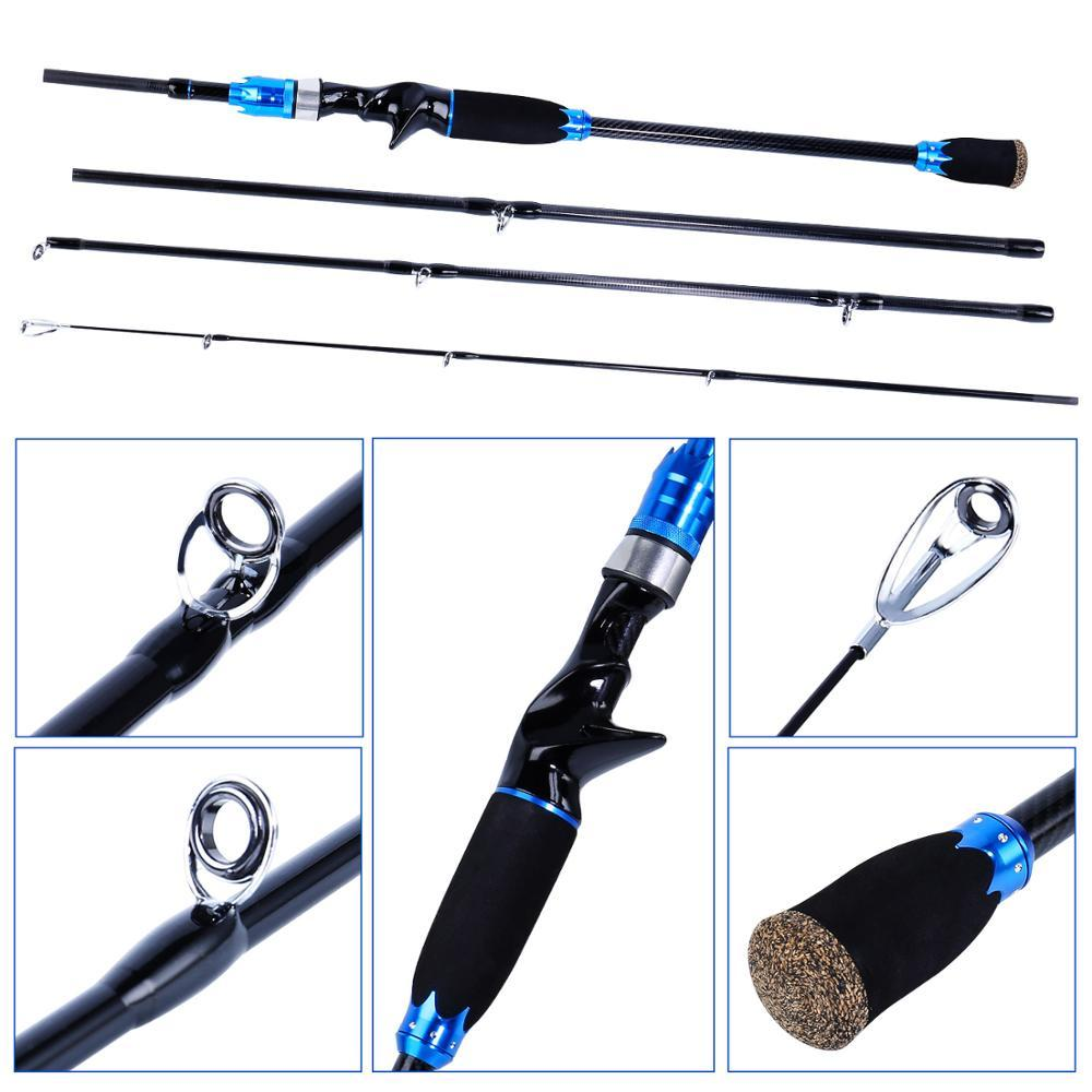 Sougayilang 2.1M Carbon Fishing Rod and Reel Combo Portable 4 Sections Spinning Lure Rod and Baitcating Reel Fishing Tackle Set