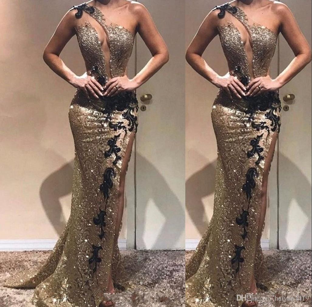 Sexy Stunning Gold Sequined Black Lace Mermaid Prom Dresses One Shoulder Sequins Side Split Backless Formal Evening Dress Wear Party Gowns