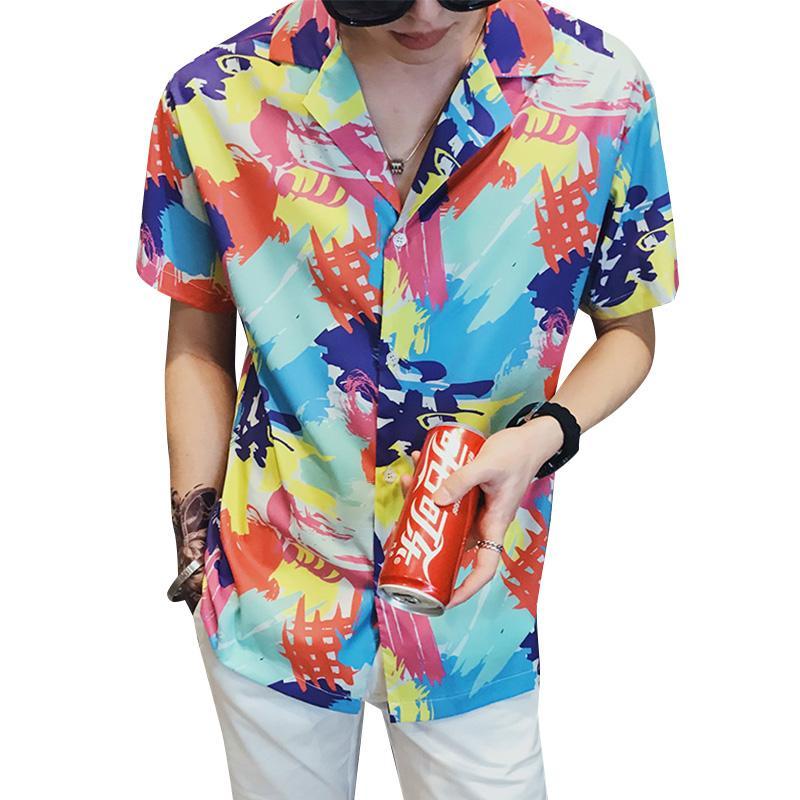 2020 Imprimir Casual hombres del verano camisa de los hombres de la solapa del algodón de lino a rayas de manga corta floja de Hawai Henry Camisa Hawaiana