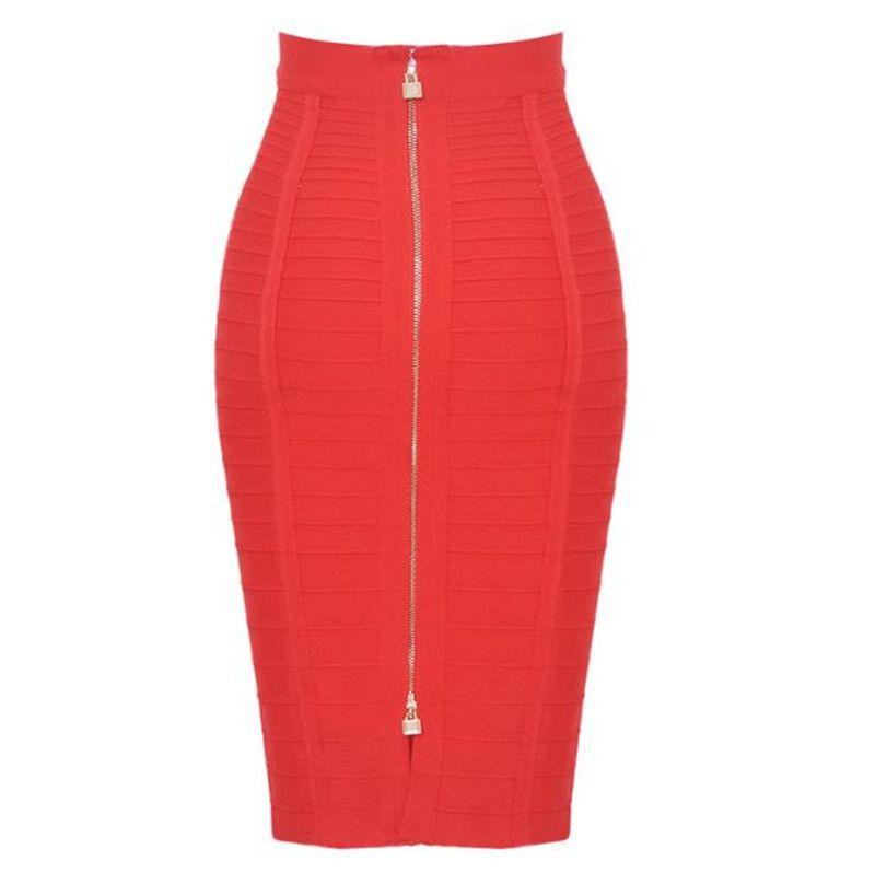 Artı boyutu Katı Bandaj Etek Kadınlar Yaz Elastik İnce BODYCON Kalem Etek 12 Renk OL Giyim
