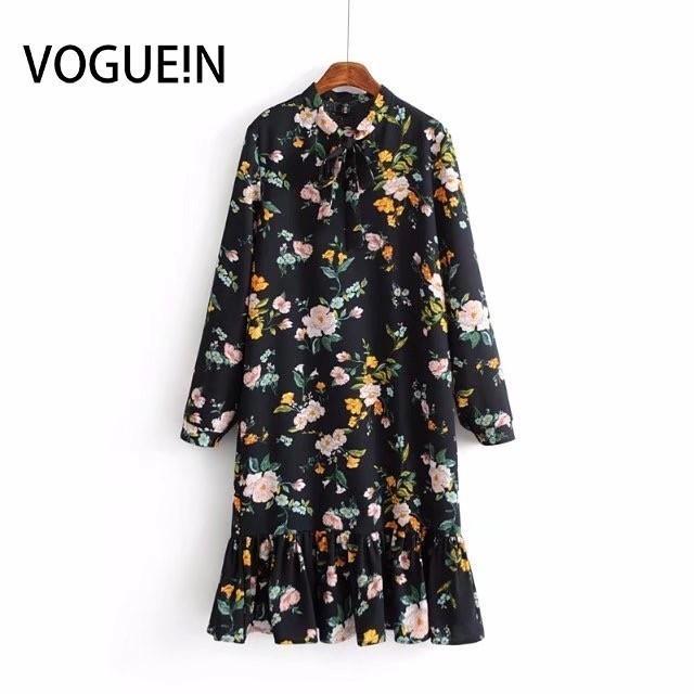 Voguein nuevas mujeres negro estampado floral de manga larga con volantes dobladillo mini vestido al por mayor Y19051001