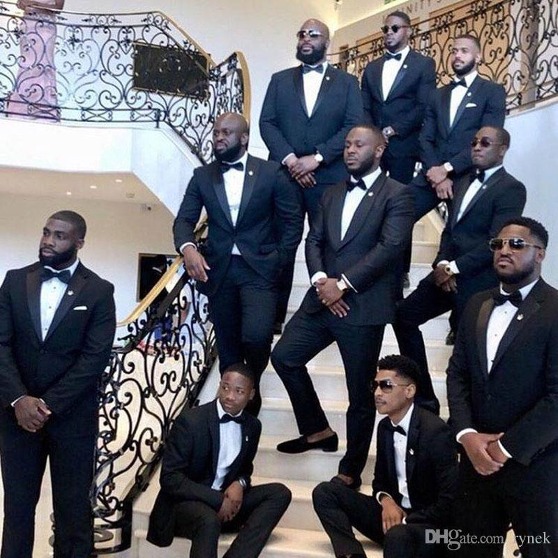 Custom Made All Black Attire Men Suits for Wedding Groomsmen Outfit Groom Tuxedos 2Piece Costume Homme Evening Party Terno Masculino