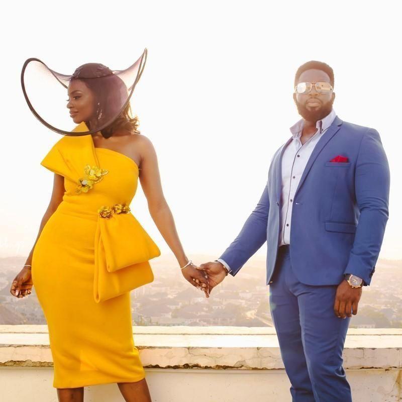 2020 sexy Prom Dresses senza spalline tea-lunghezza appliques a mano Fiori Partito ragazze nero africano abito da sera abiti da damigella d'onore Abiti Cehap
