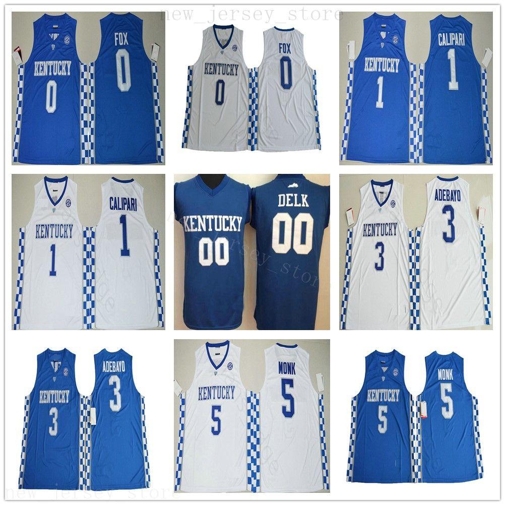 NCAA College Kentucky Wildcats Jerseys Basketball 0 Deaaron Fox 1 John Calipari 3 Edrice Adebayo 5 Malik Monk 00 Delk Blue Blanc Jerseys