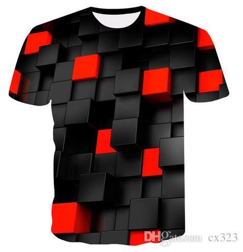 2019 Yaz Yeni erkek 3DT Gömlek Moda T-Shirt Üst Serin Ekose Elmas 3D Hip Hop T-Shirt Marka erkek T-Shirt dropshipping