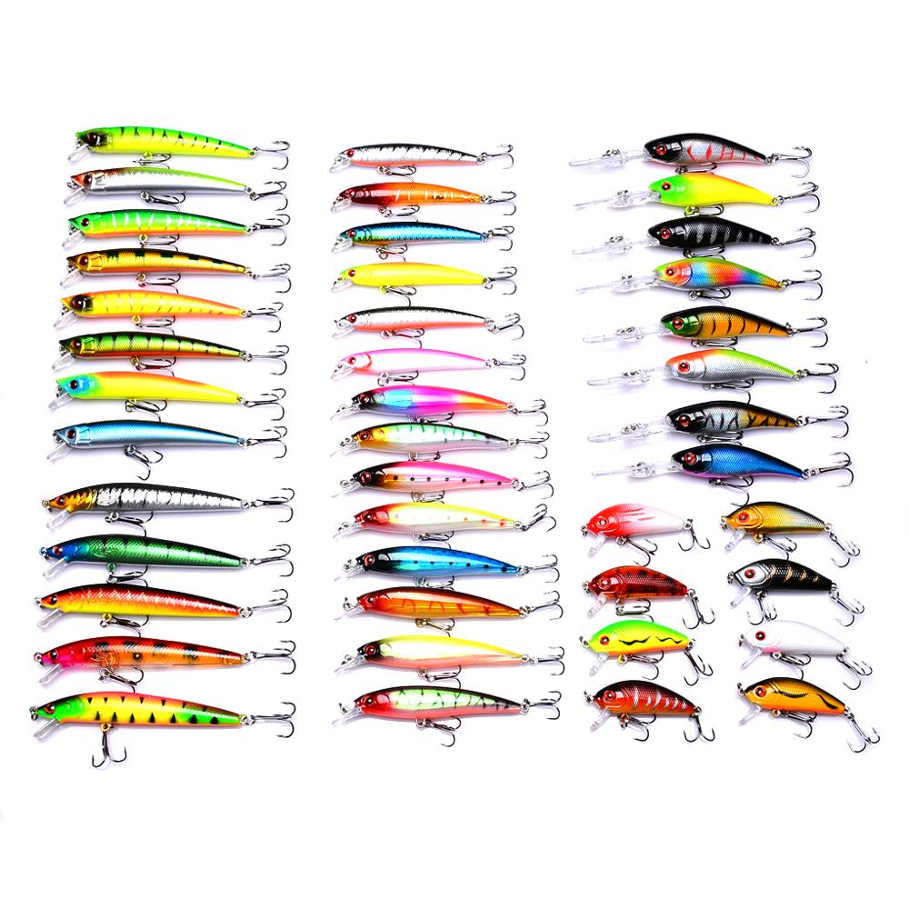 43 Adet / grup balıkçılık cazibesi Karışık 6 modelleri olta takımı 43 renk Minnow cazibesi Krank Lures Mix balıkçılık yem