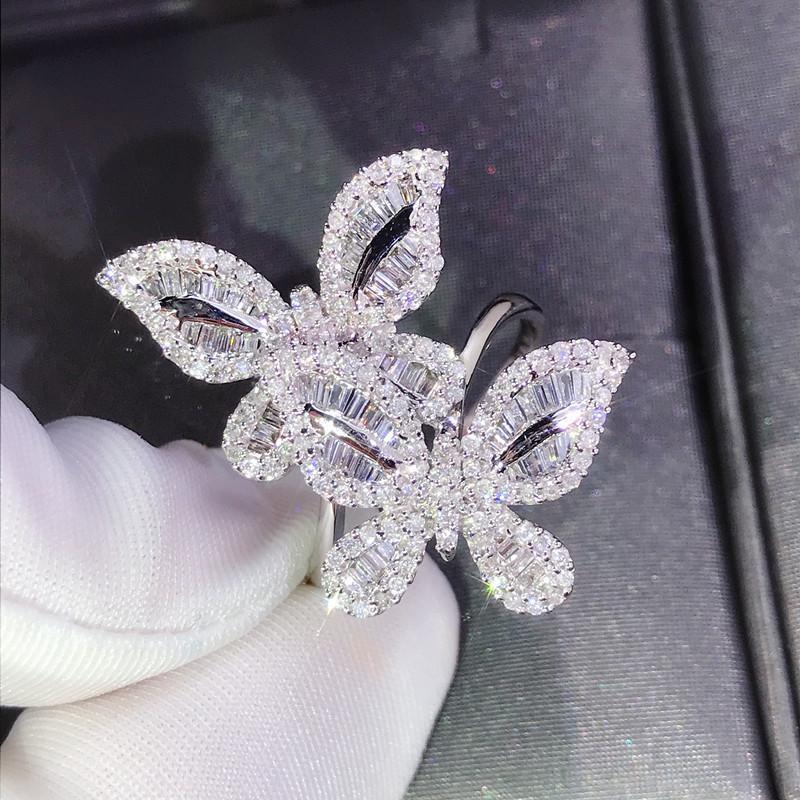 Новый S925 Женщина кольцо бабочка 925 Silver White Crystal Циркон кольцо для женщин Модного ювелирных изделий кольца