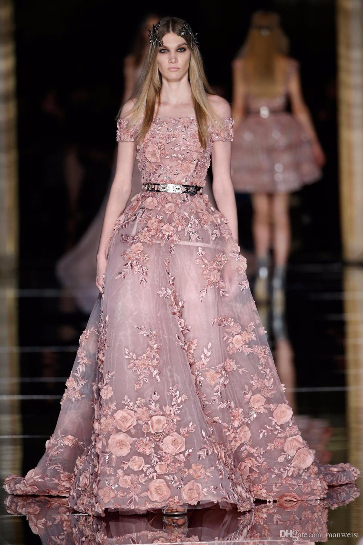 2019 Nouveau Zuhair Murad Robes De Bal 3D Floral Appliques De L'épaule Dusty Blush Robes De Soirée Plus La Taille Dernière Robe De Soirée Conception