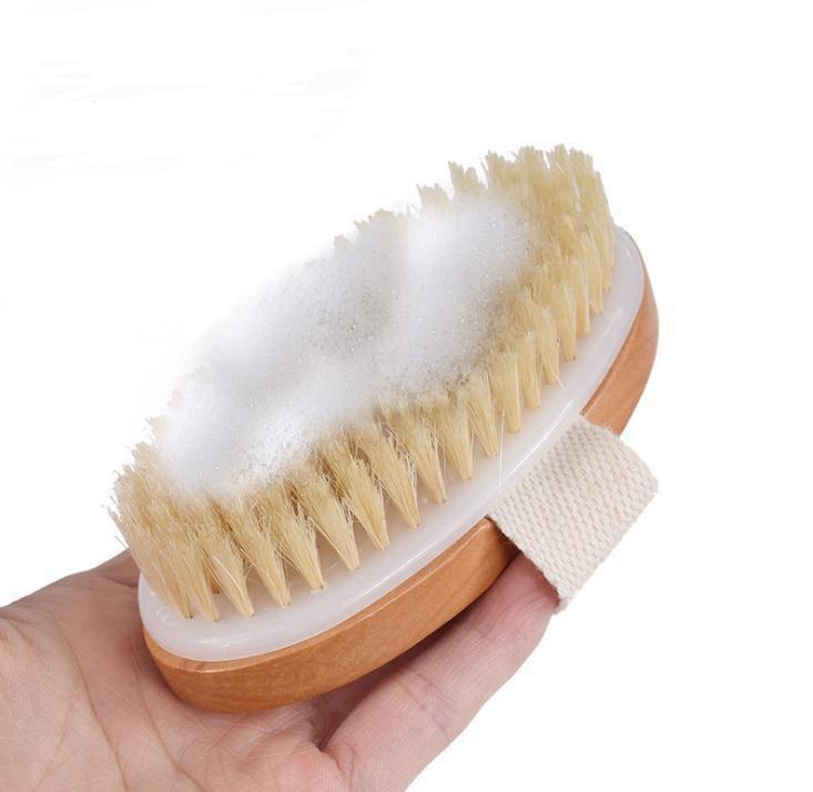 Bath Brush Dry Skin Body Soft Natural Bristle SPA The Brush Wooden Bath Shower Bristle Brush SPA Body Brushs Without Handle EEA1336-1