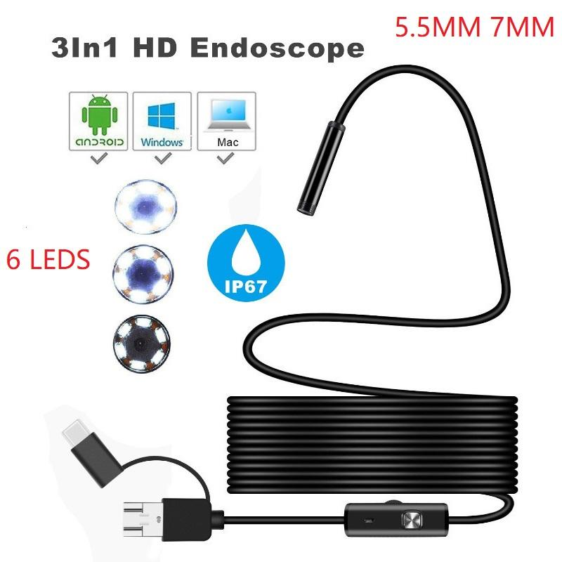 3 in 1 HD Smartphone Endoscope 5.5mm 7mm Flexible Inspektionskamera Endoscopica 480P-Endoskop mit USB / Micro USB / Typ-C für smartphone PC