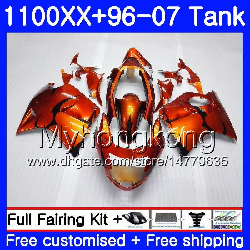 + Бак для HONDA Blackbird оранжевый черный горячий CBR1100 XX CBR1100XX 96 97 98 99 00 01 271HM.2 CBR 1100XX 1996 1997 1998 1999 2000 2001 обтекатели