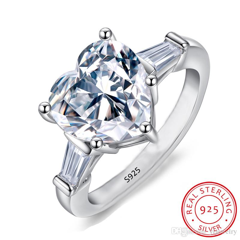Original 925 Silver Romantic Heart Ring for Women Fashion Jewelry Heart Cubic Zircon Engagement Wedding Gift Rings Wholesale XR055