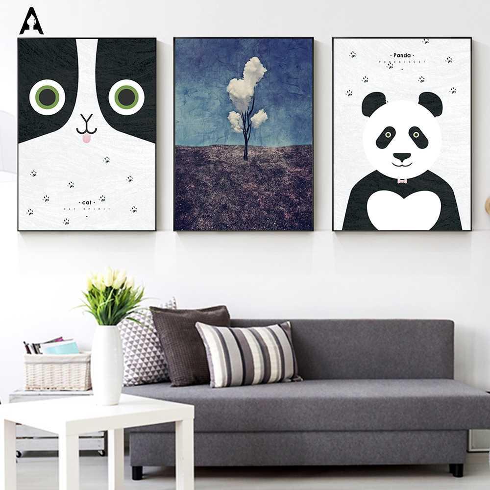 Mignon Visage De Chat Affiches Imprimé Dessin Animé Panda Toile Peintures Abstraites Mur Art Nuage Images pour Enfants Bébé Enfant Chambre de Bébé