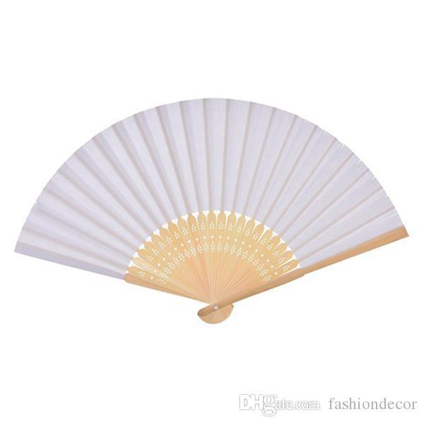 Comercio al por mayor 30 UNIDS / lote abanico chino abanico de papel personalizado para damas de halloween baby shower regalo de boda favorece la decoración de la fiesta de cumpleaños (blanco)