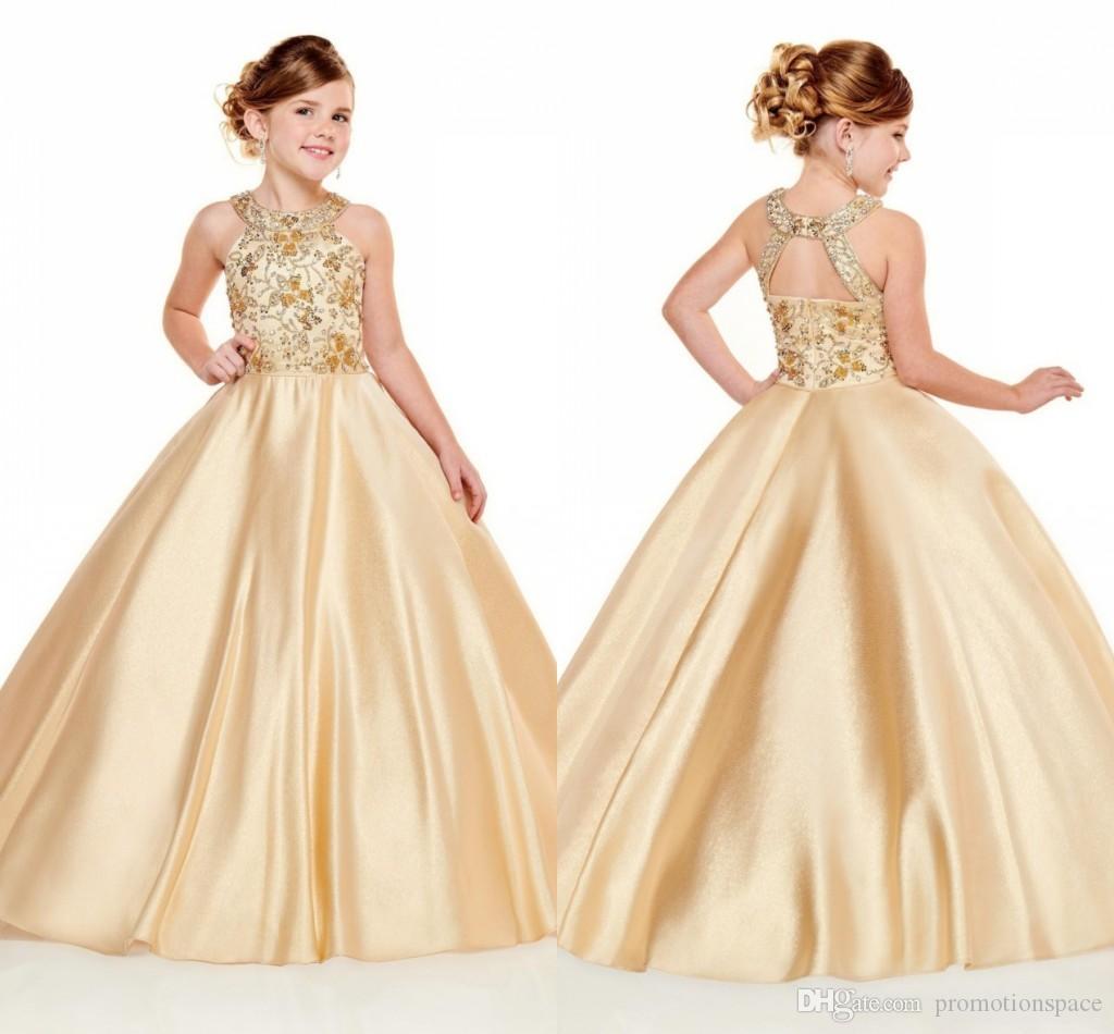 2020 Les filles les plus récents Pageant Robes Halter cou une ligne d'or Perles cristaux Top longues tout-petits enfants Fête formelle de bal Robes de demoiselle Porter