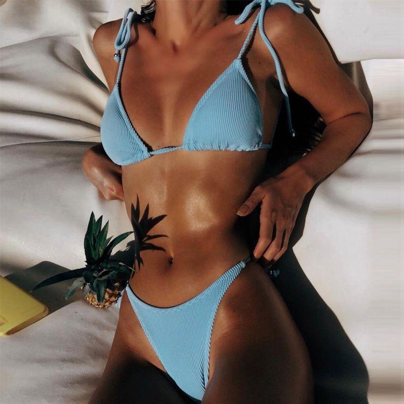 المرأة ملابس السباحة بيكيني قطعتين دعوى سلسلة ملابس السباحة biquini مايوه مثير النساء البرازيلي مثلث التستر
