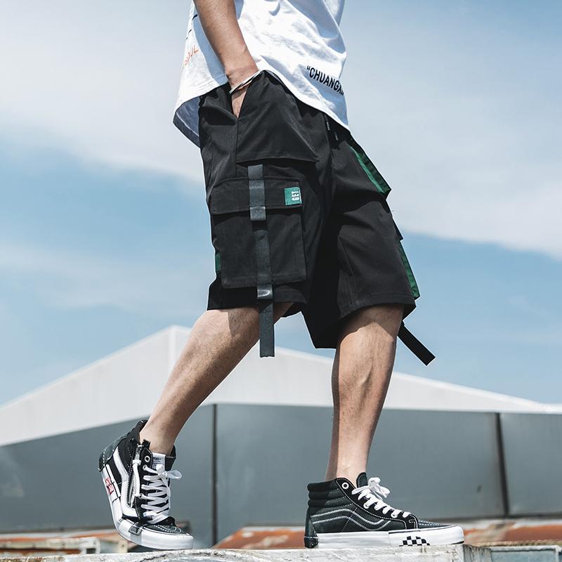 Мужские шорты уличные лето мужские повседневные боковые карманные мужские пляжные 2021 ленты на коленях Бермудские штаны
