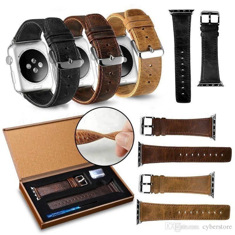 Para Apple Watch Band 38mm 40mm 42mm 44mm Correa de pulsera de cuero genuino de lujo retro Crazy Horse reemplazo para iWatch4 / 3/2/1