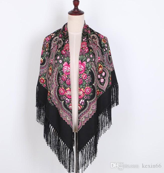 2019 Xinjiang national wind twill cotton fringed square scarf Muslim Baotou autumn and winter retro shawl print tourist female scarf