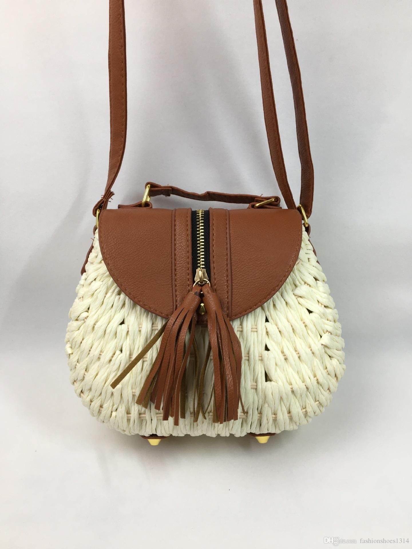 2019 New Summer Fashion Rattan Woven Straw Beach Bags Handbags Women Fringe Tassel Crossbody Messenger Bags Female Casual Small Shoulder Bag