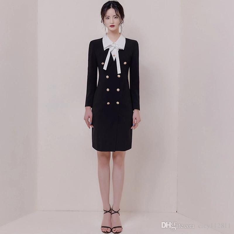 2019 sonbahar yeni ofis bayan mizaç ince zayıflama yanlış iki parçalı yay elbise