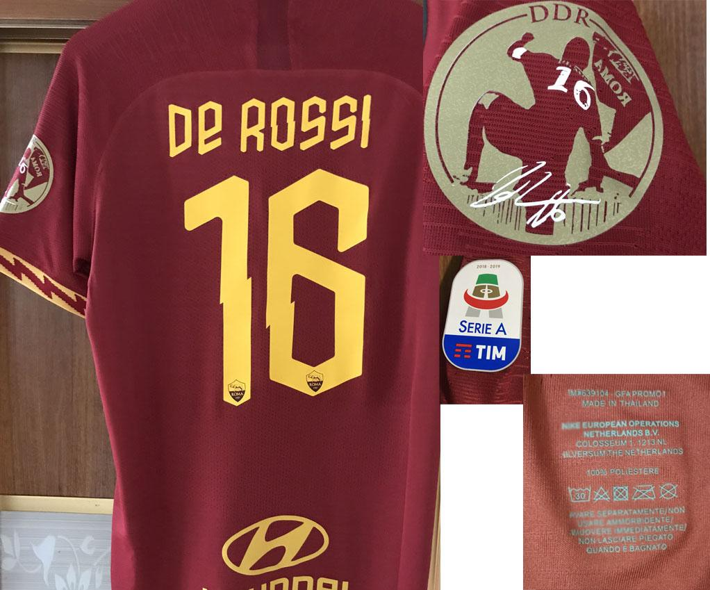 2019 Match Worn Player issue Farewell De Rossi Soccer Patch badge