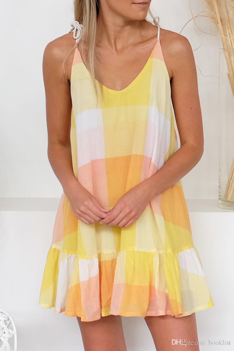 Mais novo lançado venda quente com decote em V flouncing vestido suspenso mulheres vestido de verão 8320 S-XL dhl frete grátis