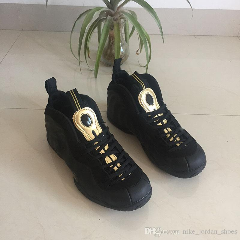 2018 Mousse One Pro Basketball Hommes Chaussures Penny Hardaway d'or bon marché Hommes Noir Métallisé Sport Chaussures 624041-009 Marque Chaussures confort