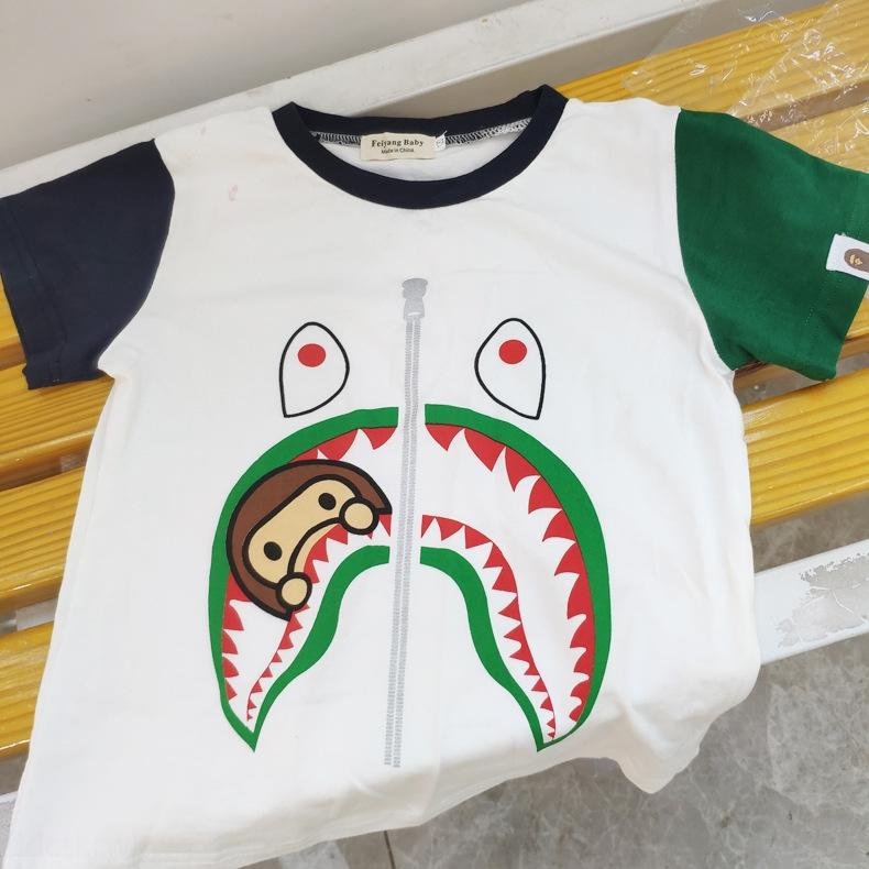 rGADw 2020 summer clothing fashion brand boys and girls pure cotton color children's clothingsleeve Shark T-shirt children's cartoon printed