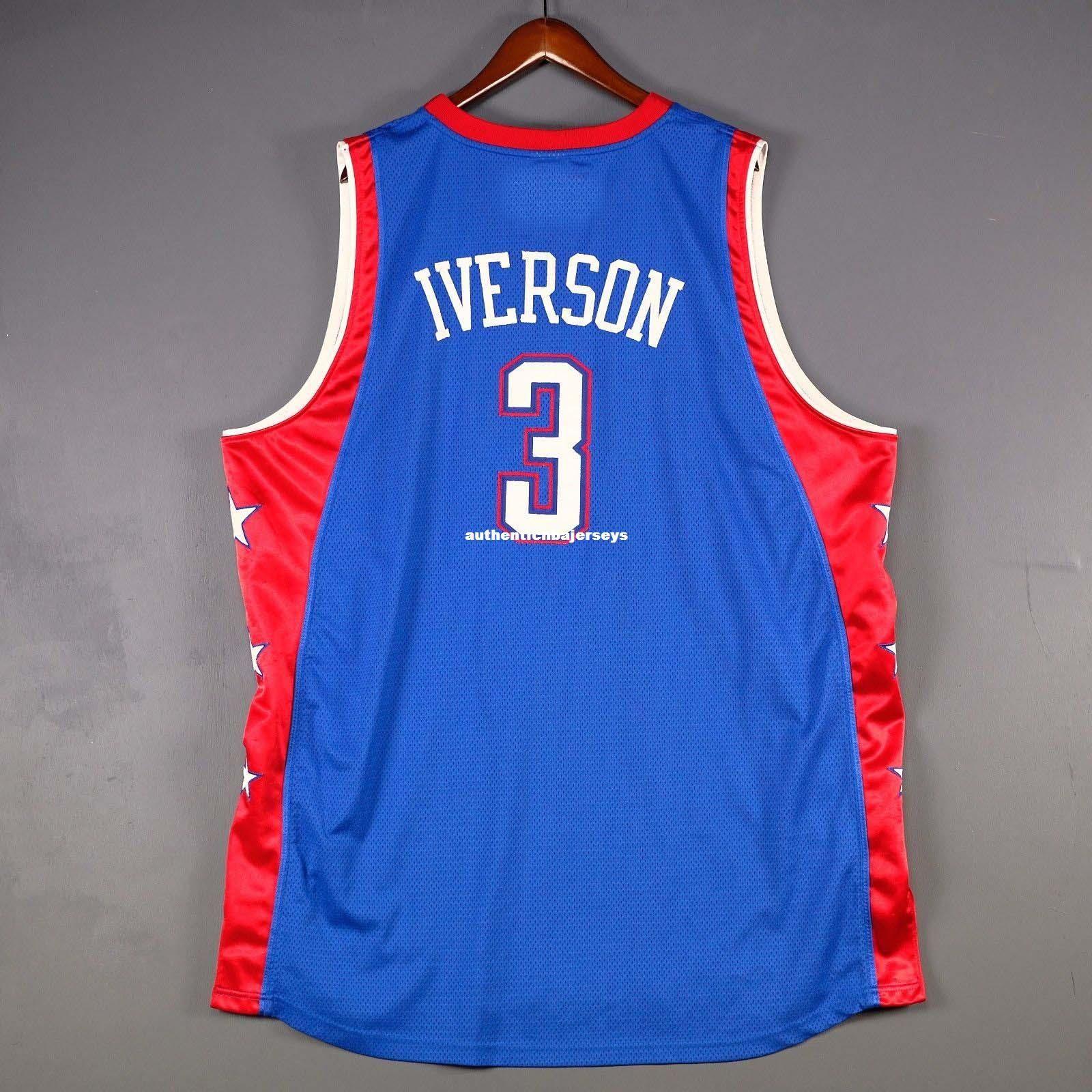 100% Genähte # 3 Allen Iverson 2004 Jersey Herren Blaue Weste Größe XS-6XL Genähte Basketballtrikots Ncaa