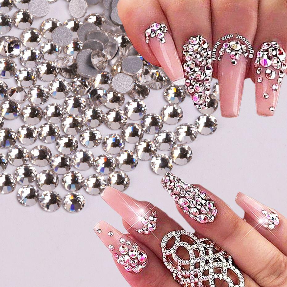 Decorazione di arte 10 pacchetti / Set (1440Pcs / pack) di chiodo di cristallo di diamante di fascino di pietra Beads Glitter Bianco strass vetro posteriore piana del chiodo 3D