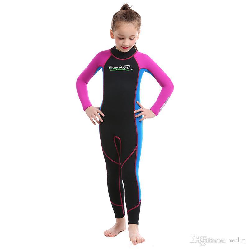 Çocuklar tam wetsuits kız sörf yüzme için düz dikiş 2mm neopren superflex özelleştirilmiş logosu ve kullanılabilir tasarım
