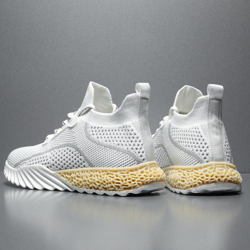 Autumn 2019 Sports Shoes Breathable Flying Woven Mesh Shoes Korean Trend Small White Shoes Soft Bottom Running Shoes' Szie 39-44