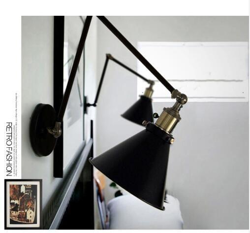 Industrial Vintage mur Lampes style simple mur Lumières Loft Petit Parapluie Double bras chevet lampe restaurant Luminaires