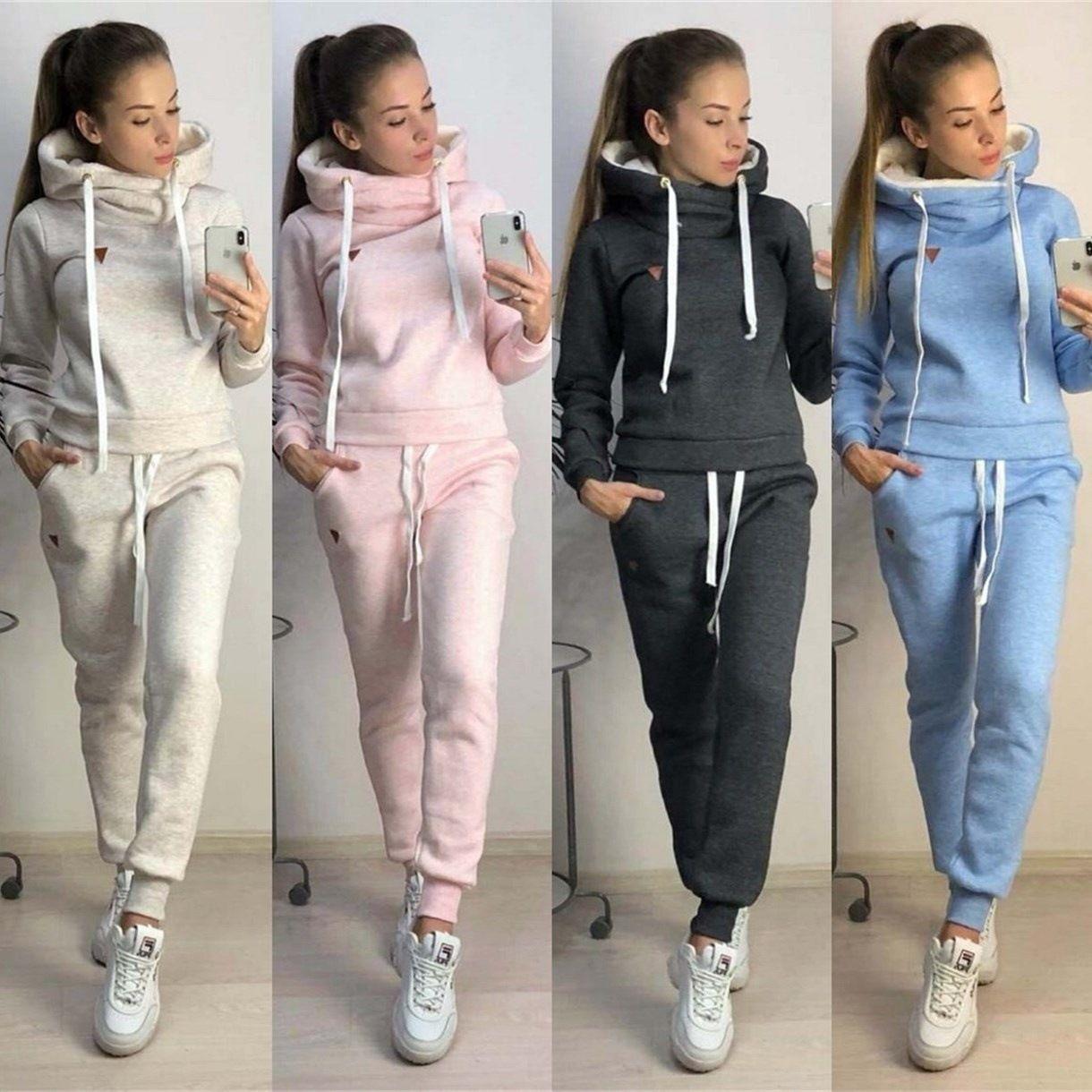 Женщины зима осень спортивные костюмы флисовые толстовки брюки 2 шт. Комплектов одежды Slim Fit повседневная одежда