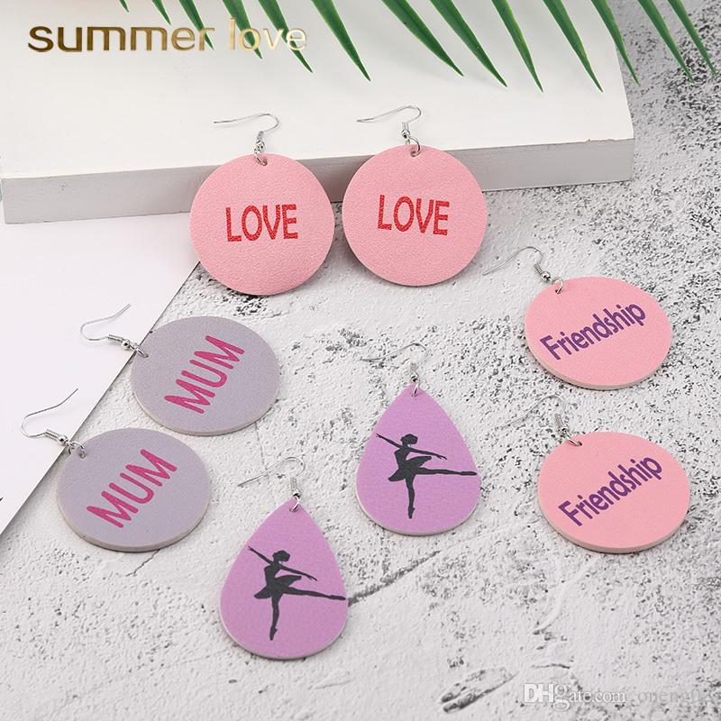 Fashion Design Leather Earrings for Women Love Mum ballet Dangle Drop Earrings Oval Waterdrop Faux Leather Ear Party Friendship Jewelry Gift