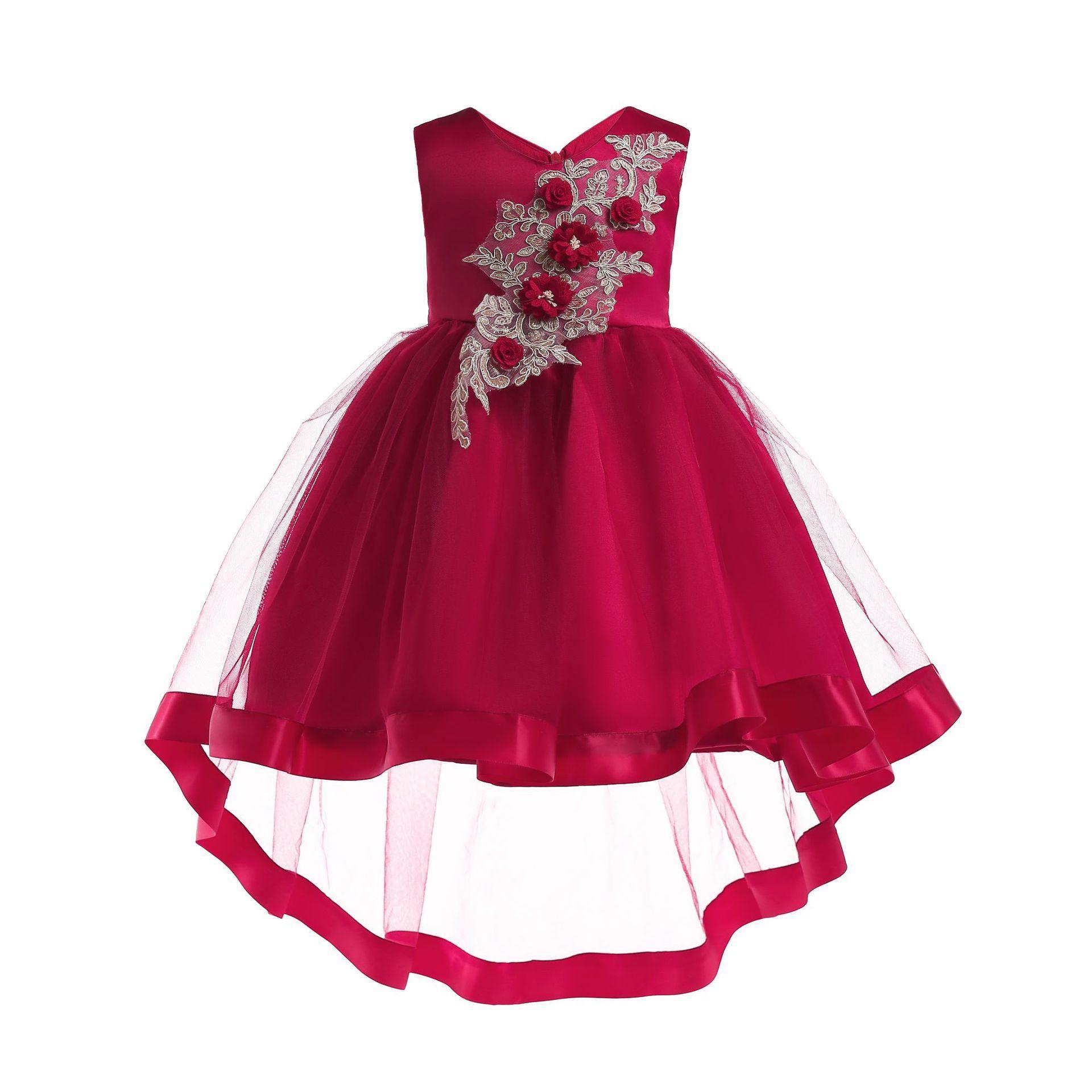 Meninas vestidos elegantes ano novo vestidos de princesa das crianças partido meninas miúdos bordado V-neck smoking vestidos