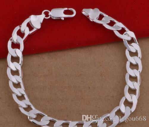 pulsera joyas extranjeros Chapado plata de ley 925 pulsera de plata, de los hombres europeos y americanos de la moda 12pcs lado de la pulsera / lot L536